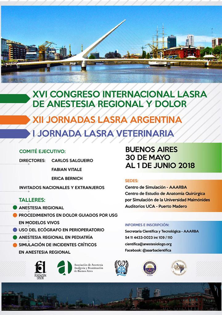 XVI CONGRESO INTERNACIONAL LASRA DE ANESTESIA REGIONAL Y DOLOR