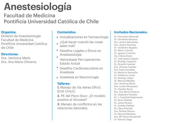 Curso de Postgrado de Anestesiología 2016 Pontifica Universidad ...